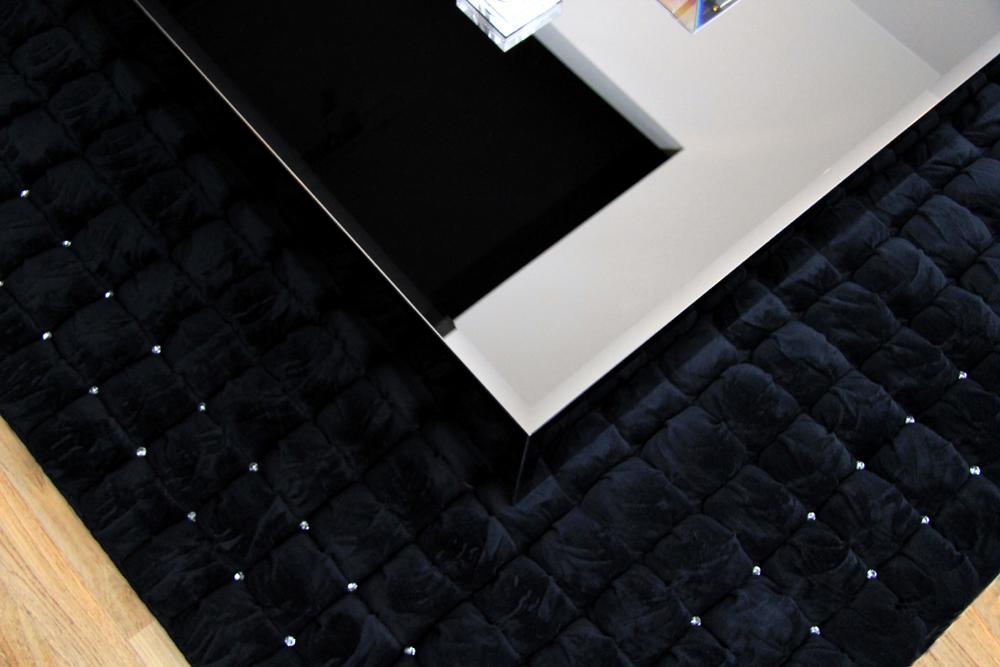 Swarovski Italian Square Black Rug